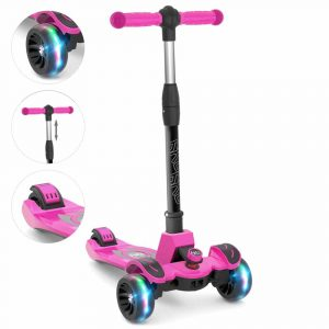 6KU Kids Kick Scooter with Flashing Wheels [Adjustable Height]