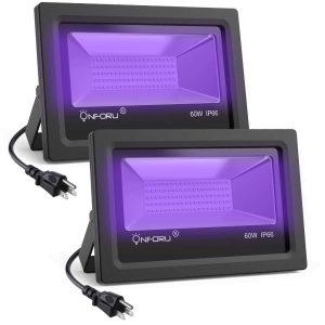 On four 2 Pack 60W UV LED Black Light Flood Light