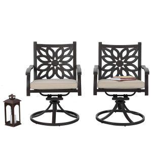 PHI VILLA Outdoor Cast Aluminum Extra Wide Rocker Swivel Chairs