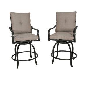 Ulax furniture Outdoor 2-Piece Counter Height Swivel Bar Stools