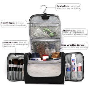 Buruis Black: Extra Large Capacity Hanging Toiletry Bag