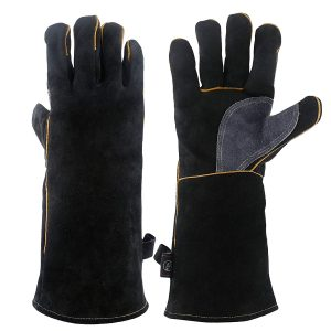KIM YUAN Extreme Fire and Heat Resistant Gloves, Black-Grey 14 inches