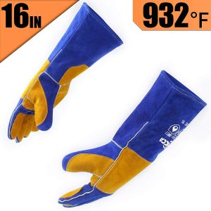 RAPICCA Leather Heat/Fire Resistant Forge Welding Gloves – Blue