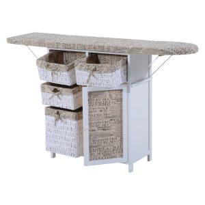 HOMCOM Drop Leaf Ironing Board with Shelves