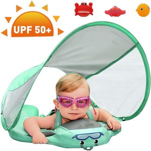 Preself Upgraded Non-Inflatable Baby Float with Removable Sun Protection Canopy