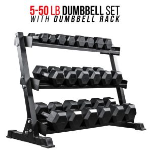REP FITNESS Rubber Hex Dumbbell Set