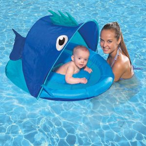 SwimSchool Fish Fabric Blue Fun Baby Pool Float for baby