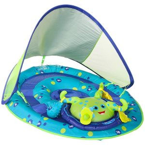 SwimWays Baby Inflatable Spring Float with Canopy- Green/Blue Octopus