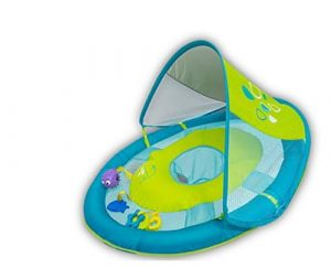 SwimWays Baby Spring Float with 5 Tethered Toys and Sun Canopy