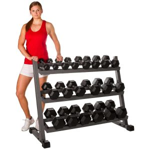 XMARK 5-50 LB Hex Dumbbell Set with Rack