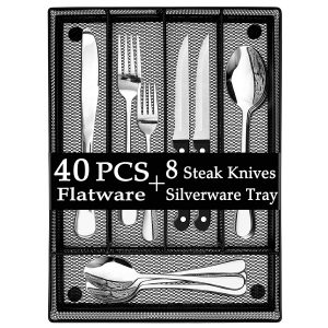 LIANYU 40-Piece Silverware Set