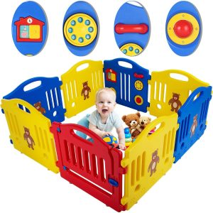 FDW Baby Playpen 8 Panels Infants Play Playards with Activity Board