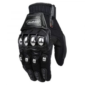 ILM Alloy Steel Knuckle Powersports Racing Paintball Gloves (BLACK)