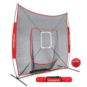 PowerNet DLX 7x7 Baseball and Softball Hitting Net with a Weighted Heavy Ball