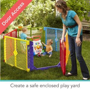 Toddleroo by North States 6-Panel Play Yard Superyard Safe Colorplay Area