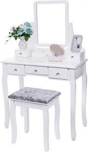 BEWISHOME FST01W Vanity Set w/Mirror & Cushioned Stool