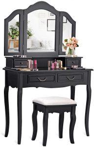 CHARMAID Vanity Set w/Tri-Folding Mirror