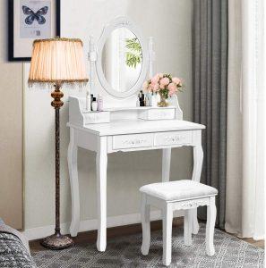 Giantex Vanity Table Set w/Oval Mirror