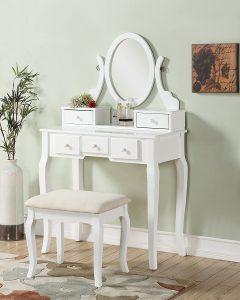 Roundhill Furniture Ashley Wood Make-Up Vanity Set