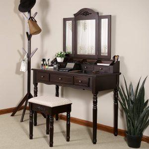 VASAGLE Vanity Set w/Tri-Folding Necklace Hooked Mirror