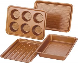 Ayesha Curry 47704 4 Piece Nonstick Bakeware Set, Copper Brown