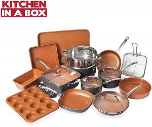 Gotham Nonstick Durable Steel Cookware set with Ceramic Copper Coating-20 Piece