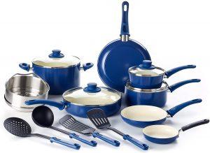 GreenLife CC002378-001 16 Piece Soft Grip Non-Stick Cookware Set