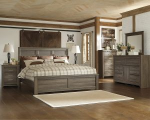 FurnitureMaxx Juararoy Casual Rough-Sawn Oak Bed Room Set