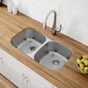 Kraus KBU22 Undermount 32 inch Double Bowl Stainless Steel Sink
