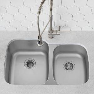Kraus KBU27 Undermount 35 inch 16 gauge Double Bowl Stainless Steel Sink