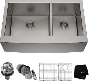 Kraus KHF203-33 PRO Double Bowl Kitchen Stainless Steel Sink