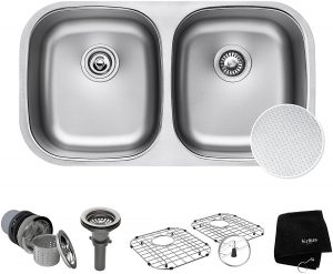 Kraus Outlast MicroShield Undermount 16 Gauge Scratch-Resist Stainless Steel Double Bowl Sink