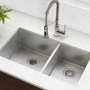 Kraus Standart PRO 16 Gauge 33-inch Undermount Double Bowl Stainless Steel Sink