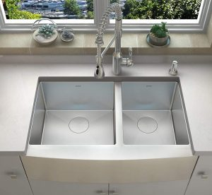 ZUHNE Farmhouse 36-Inch Double Bowl Stainless Steel Sink
