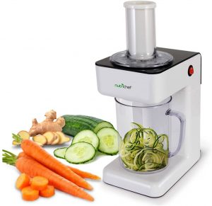 Nutrichef Electric Food Spiralizer with 3 Cutting Blades, 1.2L Bowl