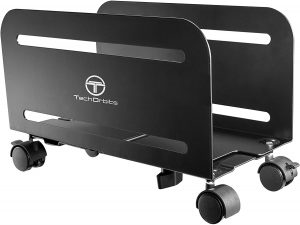 TechOrbits Mobile Computer Tower Stand with Lockable Caster Wheels