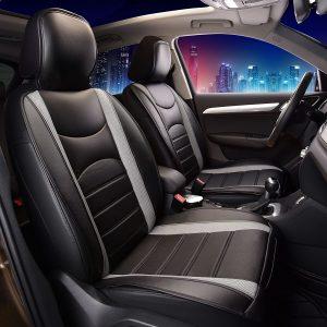 FH Group PU2 Gray/Black Leatherette Car Seat Cushions