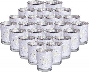 RistaJade 24-Pack Silver Votive Candle Holders Bulk