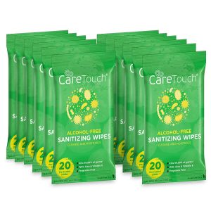 Care Touch 240 Antibacterial Alcohol-Free Hand Sanitizing Wipes for Babies and Adults