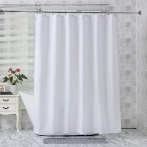 Amazer Fabric Shower Curtain Liner White Polyester with Magnet