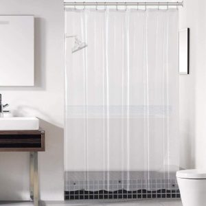 Downluxe Clear Shower Curtain Liner with Magnets
