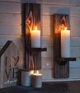 LocalBeavers Large Wall Mount Rustic Candleholders