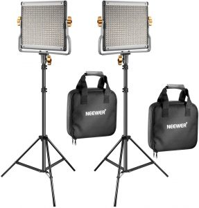 Neewer 2 Packs Dimmable LED Photography Light with color