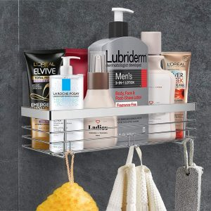 ODesign Shower Caddy Rustproof Stainless Steel Basket Shelf with Hooks