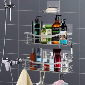 Orimade Shower Caddy Basket Bathroom Organizer with 5 Hooks
