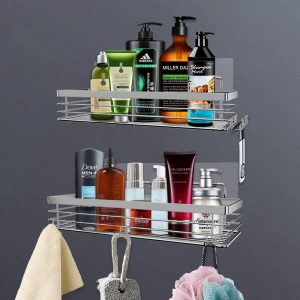 Orimade Shower Caddy Stainless Steel Shower Shelf with 5 Hooks