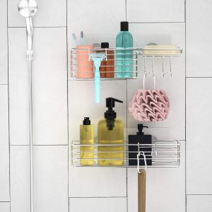 SMARTAKE 2-Pack Bathroom Shelf Shower Caddy with Hooks and Soap Dish, Silver