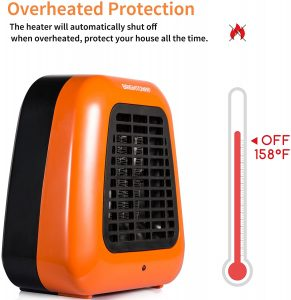 Brightown Mini Desk Heater, Tip-Over Protection, Orange
