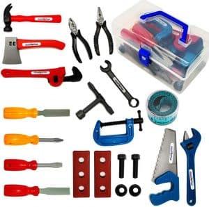 KEJIH 21 Pieces Sturdy Kids Toy Tool Set