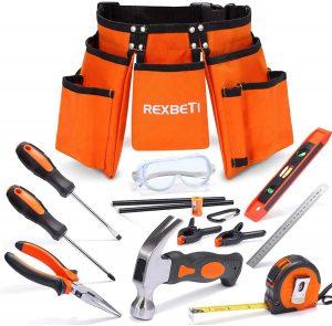 REXBETI 15pcs Durable Young Builder's Tool Set